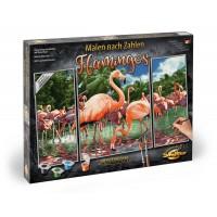 Kit 3 tablouri pictura pe numere Schipper Flamingo