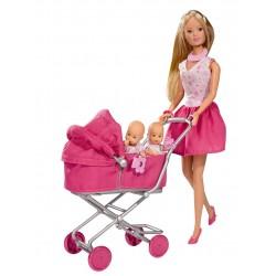 Papusa Steffi Love cu 2 bebelusi gemeni - Roz