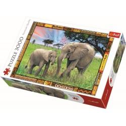 Puzzle Trefl - Elefanti in savana 3000 piese