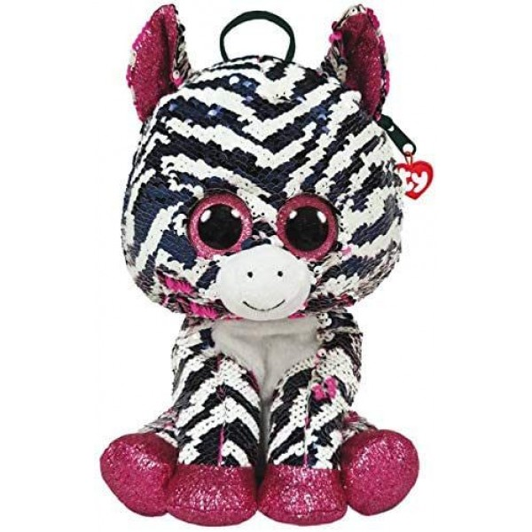 Rucsac de plus cu paiete zebra Zoey Ty