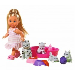 Set papusa Evi cu patru pisicute