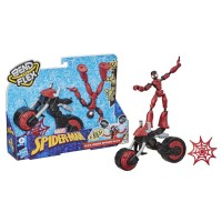 Figurina flexibila Spiderman cu motocicleta