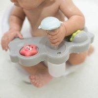 Olmitos - Scaun baie bebe cu stropitoare si jucarii gri, tavita frontala detasabila