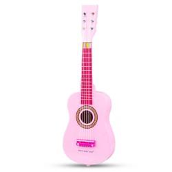 Chitara roz din lemn New Classic Toys