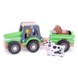 Tractor cu trailer si animale din lemn