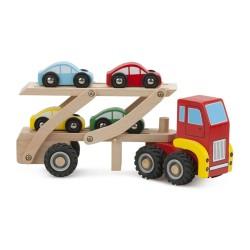 Transportor masini din lemn cu 4 masinute New Classic Toys