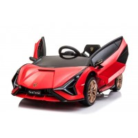 Masina electrica cu telecomanda si 2 motoare Lamborghini Sian 12V Rosu
