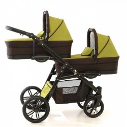 Carucior gemeni PJ Stroller Lux 3 in 1 Khaki
