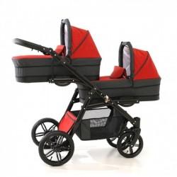 Carucior gemeni PJ Stroller Lux 3 in 1 Red