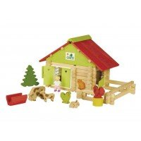 Casuta de construit din lemn 100 piese ferma cu animale