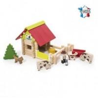 Casuta de construit din lemn ferma cu animale 70 de piese
