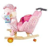 Balansoar pentru bebelusi, Catel, lemn + plus, roz, cu rotile