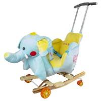 Balansoar pentru bebelusi, Elefant, lemn + plus, cu rotile