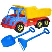Camion 60 cm cu lopata si grebla albastru