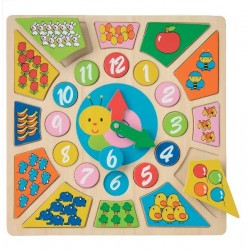 Ceas educativ din lemn - New Classic Toys