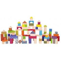 Set 100 de cuburi din lemn - New Classic Toys
