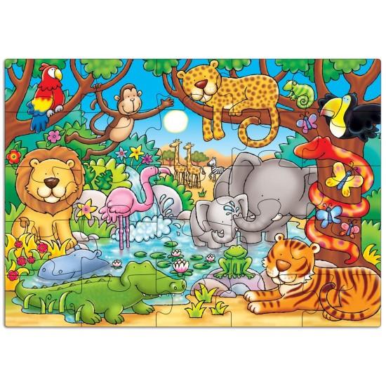 Puzzle cu activitati - Cine este in jungla?