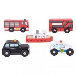 Set 5 vehicule din lemn - BigJigs