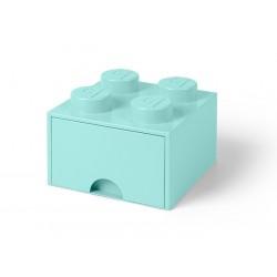 Cutie depozitare LEGO 2x2 cu sertar Aqua 40051742