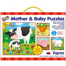 Set 4 puzzle-uri Mama si puiul - Ferma