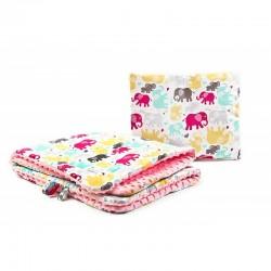 Set lenjerie Sensillo Minky 100x75/35x30 cm Pink Elephants Color