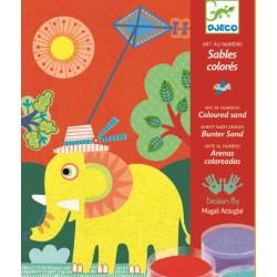 Nisip colorat Djeco Animale pentru copii
