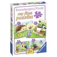 PRIMUL MEU PUZZLE ANIMALE DIN PADURE, 2/4/6/8 PIESE