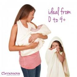 Prosop de baie pentru bebelus si mama crem Clevamama