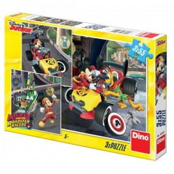 Puzzle 3 in 1 - Cursa lui Mickey Mouse - 3 x 55 piese