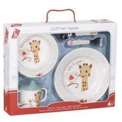 Set pentru masa melamina Girafa Sophie & Kiwi cutie cadou - Vulli