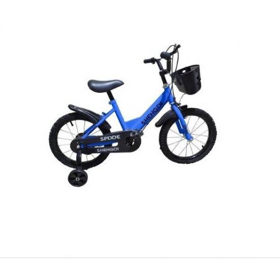 Bicicleta copii 16 inch cu pedale si roti ajutatoare - Albastru