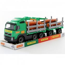 Trailer Powertruck cu remorca si lemne