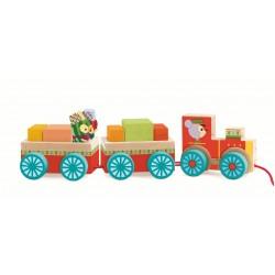Trenulet cu cuburi si pinguini Djeco