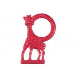 Inel dentitie vanilie in cutie cadou Girafa Sophie Rosu - Vulli